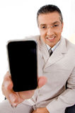 Top view of businessman offering cell phone Stock Photos