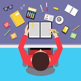 Top view businessman workplace Stock Image