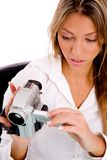 Top view of businesswoman holding handy cam Stock Photography