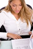Top view of businesswoman looking document Royalty Free Stock Images