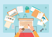 Top view of Busy business woman working hard on her desk . Stock Photo
