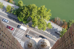 Top view of the busy road from the tower Royalty Free Stock Image