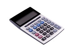 Top view of calculator device for calculating the numbers. Isolated with clipping path on white background Stock Photo