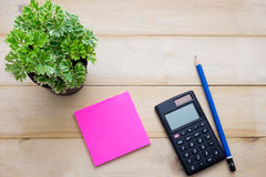 Top view calculator,post it note,pencil and some plant put on wo Stock Images