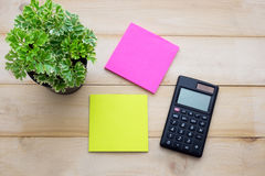 Top view calculator,post it note,pencil and some plant put on wo. Oden background Stock Image