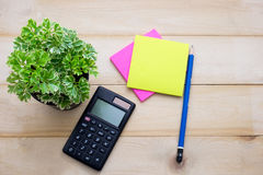 Top view calculator,post it note,pencil and some plant put on wo. Oden background Royalty Free Stock Photo