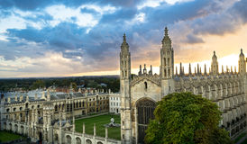 Top View of Cambridge University at beautiful sunset and dramatic sky, Cambridge, UK. Panoramic view of Cambridge, UK.September 2016 Stock Image