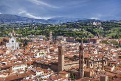Top view from Campanile Giotto on the historical center of Florence Stock Photos