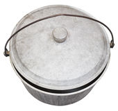 Top view of camping sooty pot isolated on white Stock Image