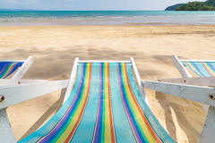 Top view of canvas beach bed Stock Image
