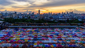 Top view of Canvas tent at the outdoor market. Time lapse panning view of Canvas tent at the outdoor market in city stock video