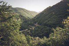 Top view of a canyon in southern Italy, in particular the gorges of the Platano river royalty free stock photo