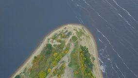 Top view of the Cape on the lake. Clip. Stunning lake and foreland view from mount.  Stock Image