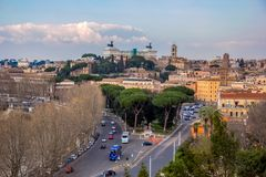 Top view of the Capitol Hill. Rome, Italy. Day view of the Capitol Hill and roads in the center of Rome royalty free stock photo