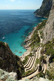 Top view of Capri shore. Sea view from hill in Capri. Classic mediterranean  landscape and vegetation. Via Krupp Royalty Free Stock Photography