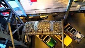 Top view of a car covered with steel plates. Unique concept of modern car. Model of car covered with reflecting metal. Heritage Transportation Museum Gurgaon stock image
