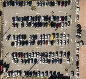 Top view of car parking texture aerial drone shot background f royalty free stock image