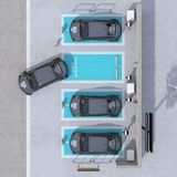 Top view of car sharing parking lot equipped with charging station and batteries stock images