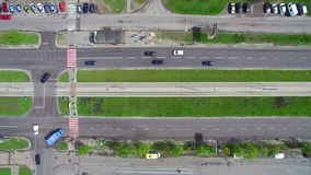 Top View car traffic in the city. Aerial stock video footage