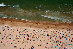 Top view of Carcavelos beach. Aerial view of Carcavelos beach in Portugal Royalty Free Stock Photos