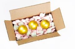 Top view of Cardboard box with christmas balls Stock Images