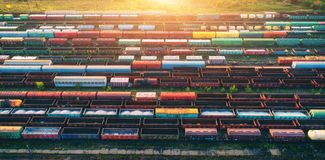 Top view of cargo trains. Aerial view Stock Photos
