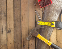 Top view of carpentry tools on wood Stock Photography