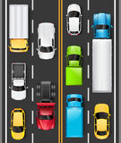 Top view of cars and trucks on the road. Cars are driving on the highway. Traffic on the road. Vector. Illustration Stock Illustration