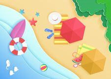 Top view cartoon ocean sea beach background with umbrellas, swim donuts ring, sunglasses, surfboard, hat and starfish stock illustration