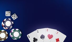 Top view of Casino poker chips, dice and cards on blue background. Online Vegas casino banner with chips on blue game. Table and place for text. Gambling 3d stock illustration