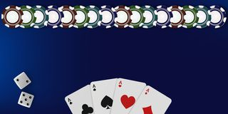 Top view of Casino table background. Poker chips, dice and cards on blue background. Online Vegas casino banner with. Top view of Casino table. Poker chips, dice vector illustration