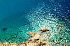 Seaside stone rock coast of turquoise water, Scilla, Southern It stock photography