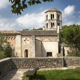 Top view of the castle and the Church in Girona, Spain Royalty Free Stock Photo