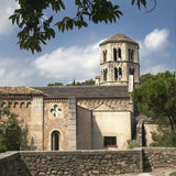 Top view of the castle and the Church in Girona, Spain Stock Photography