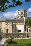 Top view of the castle and the Church in Girona, Spain Royalty Free Stock Photography