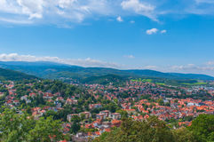 Top view from Castle, Germany. Summer view from Wernigerode Castle to the Wernigerode town, Germany Stock Image