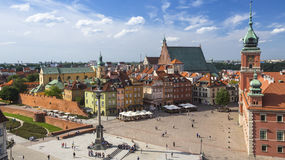 Top view of Castle Square in Warsaw, Poland. Travel. Royalty Free Stock Photography