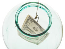 Top view of catching last dollar from glass jar Royalty Free Stock Photo