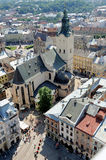 Top view of the Cathedral in Lviv Stock Images