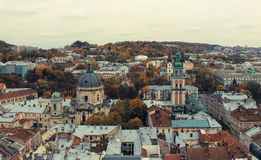 Top view of the Cathedral in Lviv. Stock Photos