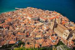 Top view of Cefalu old town Royalty Free Stock Photography