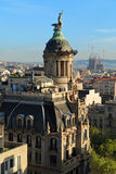 Top view of the center of Barcelona. Spain. Panoramic view of the center of Barcelona.  In the foreground - the building of the insurance company. Spain Royalty Free Stock Photography