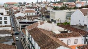 Top view of center of Ponta Delgada. Royalty Free Stock Photography