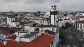 Top view of center Ponta Delgada in the Azores, Portugal. Traveling. stock video footage