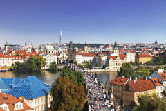 Top view of center of Prague with its red roofs and tower of the Charles bridge, Prague, royalty free stock photos