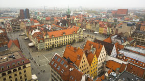 Top view of center Wroclaw old town, Poland. Travel. Stock Photos