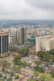 Top view on central business district of Nairobi from Kenyatta International Conference Centre helipad Royalty Free Stock Image