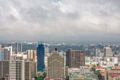 Top view on central business district of Nairobi from Kenyatta International Conference Centre helipad Stock Photography
