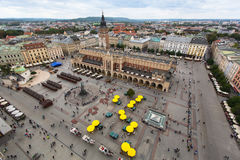 Top view on the Central square of Krakow Stock Photos