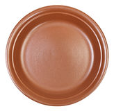 Top view of ceramic brown dinner plate isolated Royalty Free Stock Photos